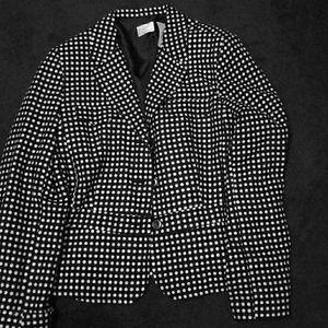 Black and white polka- dot blazer